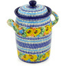 9-inch Stoneware Jar with Lid and Handles - Polmedia Polish Pottery H6248D