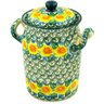 9-inch Stoneware Jar with Lid and Handles - Polmedia Polish Pottery H6251D