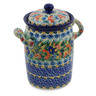 9-inch Stoneware Jar with Lid and Handles - Polmedia Polish Pottery H8544J