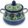 9-inch Stoneware Jar with Lid and Handles - Polmedia Polish Pottery H8758G