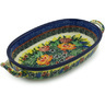 9-inch Stoneware Oval Baker with Handles - Polmedia Polish Pottery H1518H