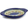 9-inch Stoneware Platter with Handles - Polmedia Polish Pottery H6538J