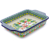 9-inch Stoneware Rectangular Baker with Handles - Polmedia Polish Pottery H3287J