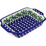 9-inch Stoneware Rectangular Baker with Handles - Polmedia Polish Pottery H8151D