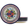 9-inch Stoneware Set of 6 Plates - Polmedia Polish Pottery H1033L