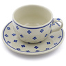 9 oz Stoneware Cup with Saucer - Polmedia Polish Pottery H0554B