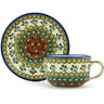 9 oz Stoneware Cup with Saucer - Polmedia Polish Pottery H0650G