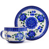 9 oz Stoneware Cup with Saucer - Polmedia Polish Pottery H1239B