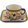 9 oz Stoneware Cup with Saucer - Polmedia Polish Pottery H3085K