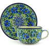 9 oz Stoneware Cup with Saucer - Polmedia Polish Pottery H3164G