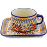 9 oz Stoneware Cup with Saucer - Polmedia Polish Pottery H3371K