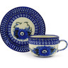 9 oz Stoneware Cup with Saucer - Polmedia Polish Pottery H8003E