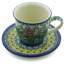 9 oz Stoneware Cup with Saucer - Polmedia Polish Pottery H9273I