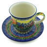 9 oz Stoneware Cup with Saucer - Polmedia Polish Pottery H9432I