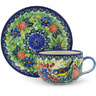 9 oz Stoneware Cup with Saucer - Polmedia Polish Pottery H9593E