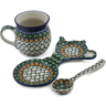 9 oz Stoneware Mug with Spoon and Tea Bag or Lemon Plate - Polmedia Polish Pottery H0590L