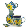 9 oz Stoneware Mug with Spoon and Tea Bag or Lemon Plate - Polmedia Polish Pottery H6180K