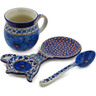 9 oz Stoneware Mug with Spoon and Tea Bag or Lemon Plate - Polmedia Polish Pottery H7501K