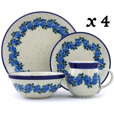 Polish Pottery 16-Piece Place Setting BOLEC Blue Garland