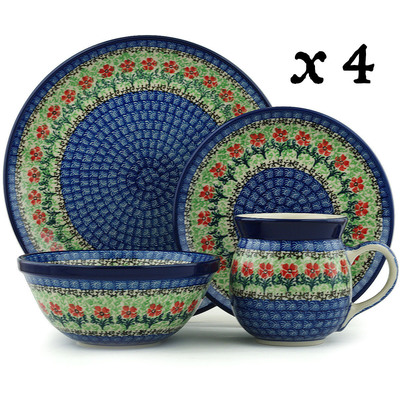 Polish Pottery 16-Piece Place Setting BOLEC Maraschino