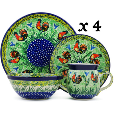 Polish Pottery 16-Piece Place Setting BOLEC Rooster Parade UNIKAT
