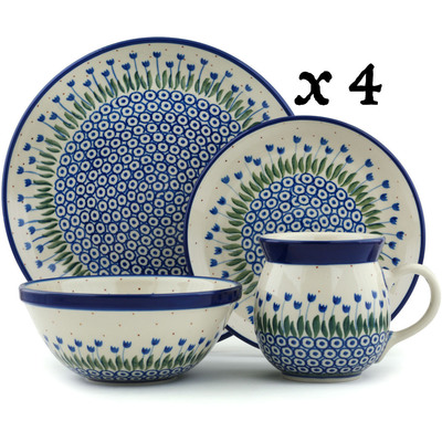 Polish Pottery 16-Piece Place Setting BOLEC Water Tulip