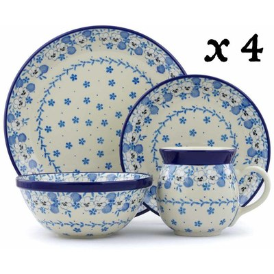 Polish Pottery 16-Piece Place Setting BOLEC White Pansy