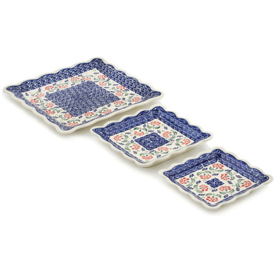 Polish Pottery 3-Piece Platter Set Poppies In The Wind