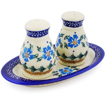 Polish Pottery 3-Piece Salt and Pepper Set with Tray Blue Cornflower