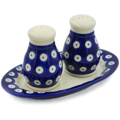 Polish Pottery 3-Piece Salt and Pepper Set with Tray Blue Eyed Peacock