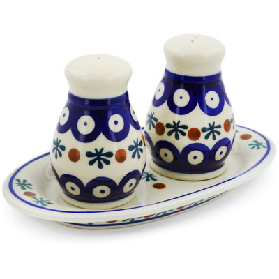 Polish Pottery 3-Piece Salt and Pepper Set with Tray Mosquito