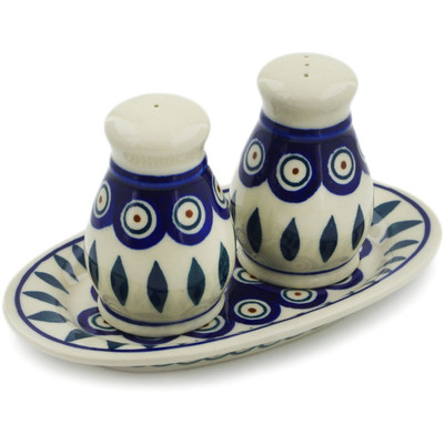 Polish Pottery 3-Piece Salt and Pepper Set with Tray Peacock