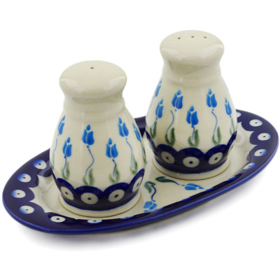 Polish Pottery 3-Piece Salt and Pepper Set with Tray Peacock Tulip Garden