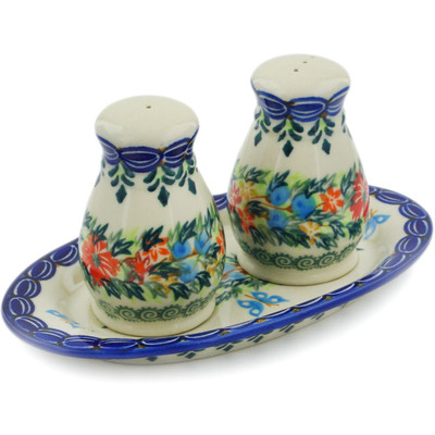 Polish Pottery 3-Piece Salt and Pepper Set with Tray Ring Of Flowers UNIKAT