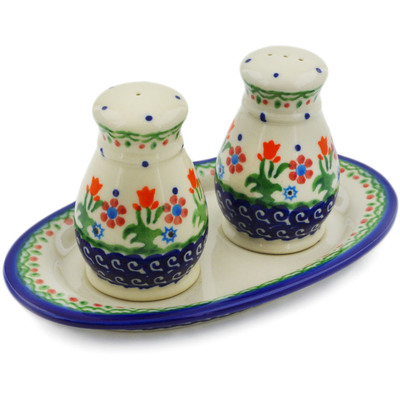 Polish Pottery 3-Piece Salt and Pepper Set with Tray Spring Flowers