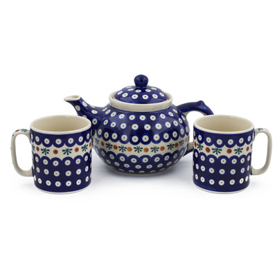Polish Pottery 3-Piece Tea Coffee Set for Two Mosquito