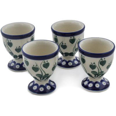 Polish Pottery 4-Piece Egg Holder Set Bleeding Heart Peacock