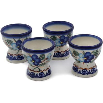 Polish Pottery 4-Piece Egg Holder Set Blue Pansy