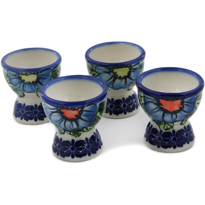 Polish Pottery 4-Piece Egg Holder Set Bold Blue Poppies UNIKAT
