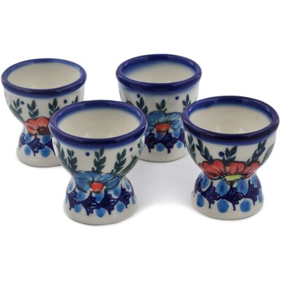 Polish Pottery 4-Piece Egg Holder Set Bold Poppies UNIKAT