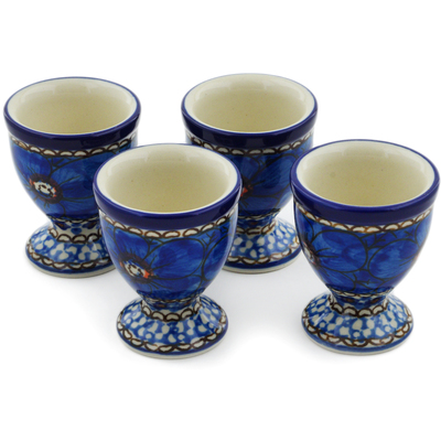Polish Pottery 4-Piece Egg Holder Set Cobalt Poppies UNIKAT