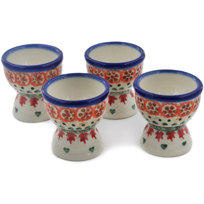 Polish Pottery 4-Piece Egg Holder Set Fall Leaves