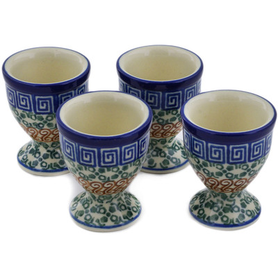 Polish Pottery 4-Piece Egg Holder Set Grecian Sea