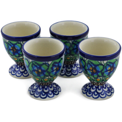 Polish Pottery 4-Piece Egg Holder Set Mardi Gra UNIKAT