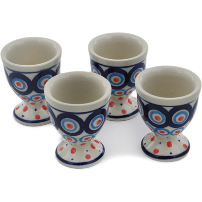 Polish Pottery 4-Piece Egg Holder Set Modern Peacock