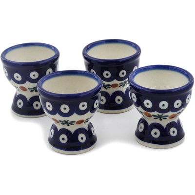 Polish Pottery 4-Piece Egg Holder Set Mosquito