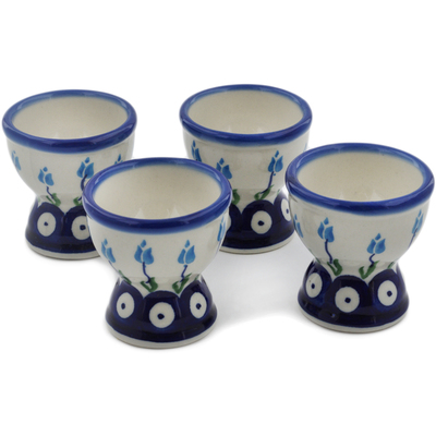 Polish Pottery 4-Piece Egg Holder Set Peacock Tulip Garden
