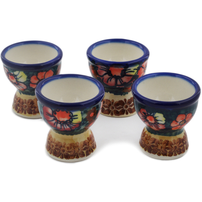 Polish Pottery 4-Piece Egg Holder Set Poppy Love UNIKAT