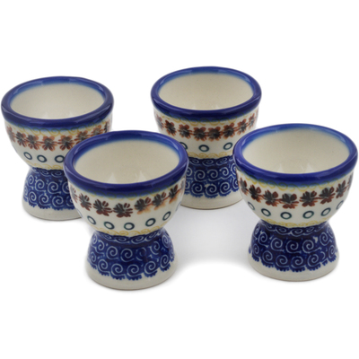 Polish Pottery 4-Piece Egg Holder Set Red Anemone Meadow UNIKAT