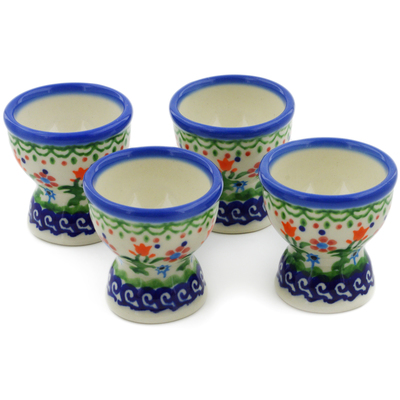 Polish Pottery 4-Piece Egg Holder Set Spring Flowers